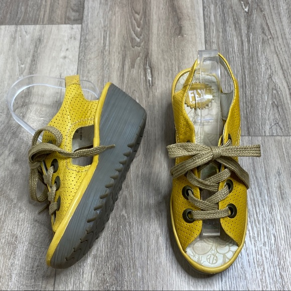 Fly London Lace-up Yellow Suede Wedge Sandal
